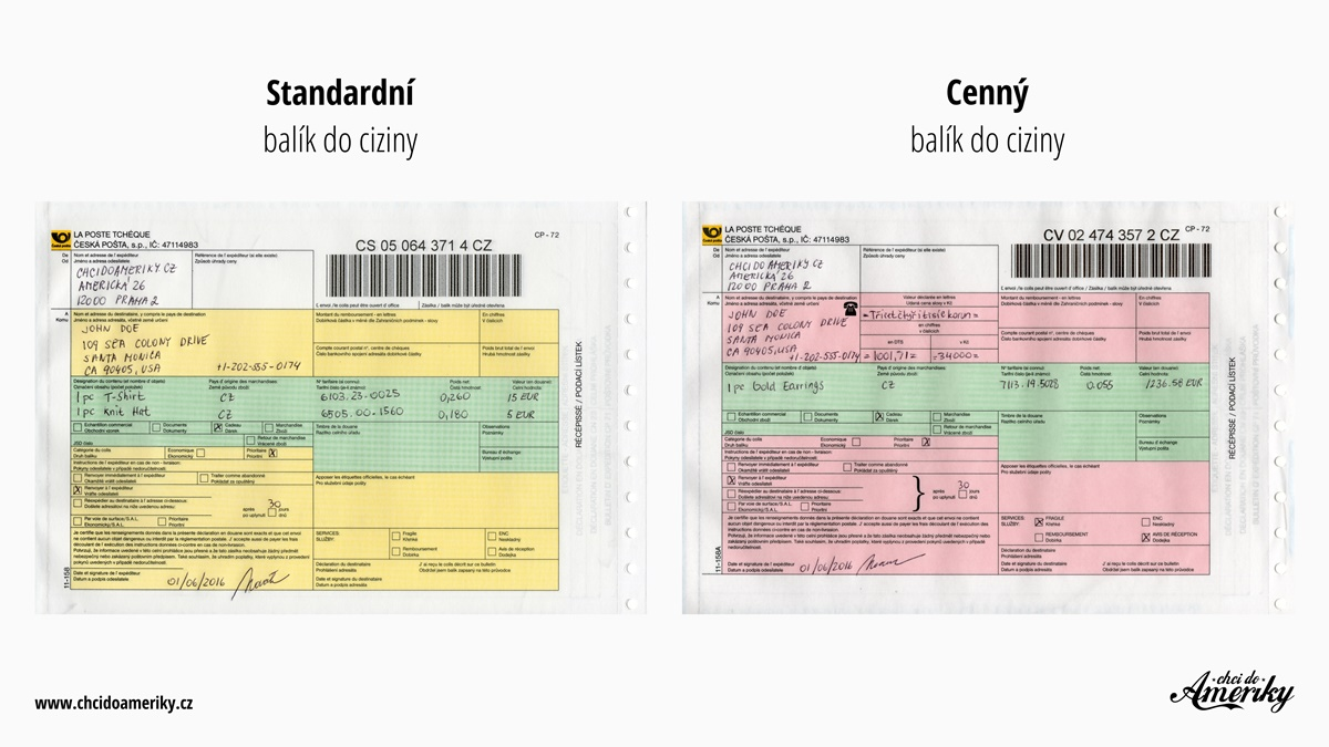 Jak vyplnit podací lístek do zahraničí a poslat balík do USA | © Petr Novák
