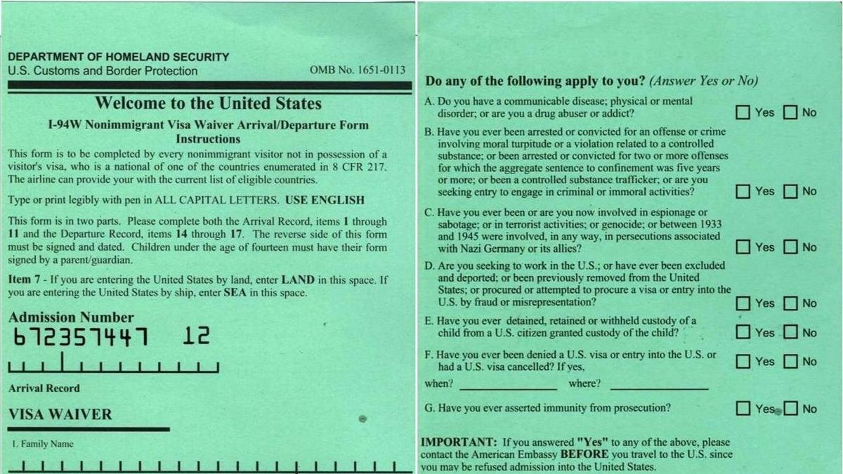 Jak vyplnit zelený formulář I-94W (Nonimmigrant Visa Waiver Arrival/Departure Form)?