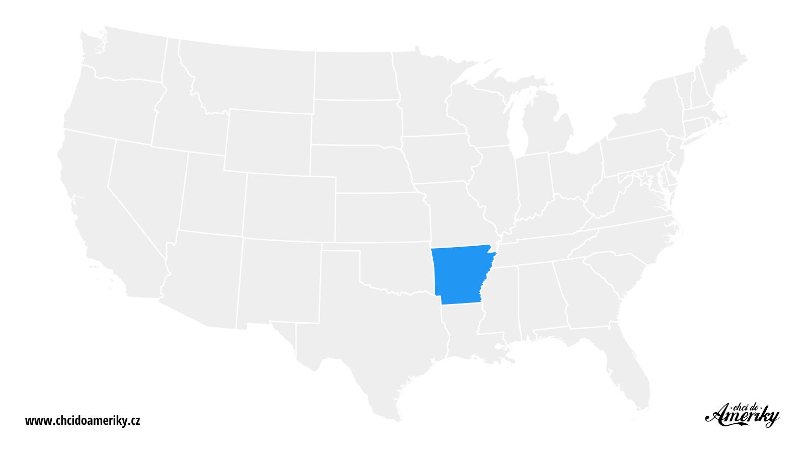 Mapa Arkansasu / Kde je Arkansas?