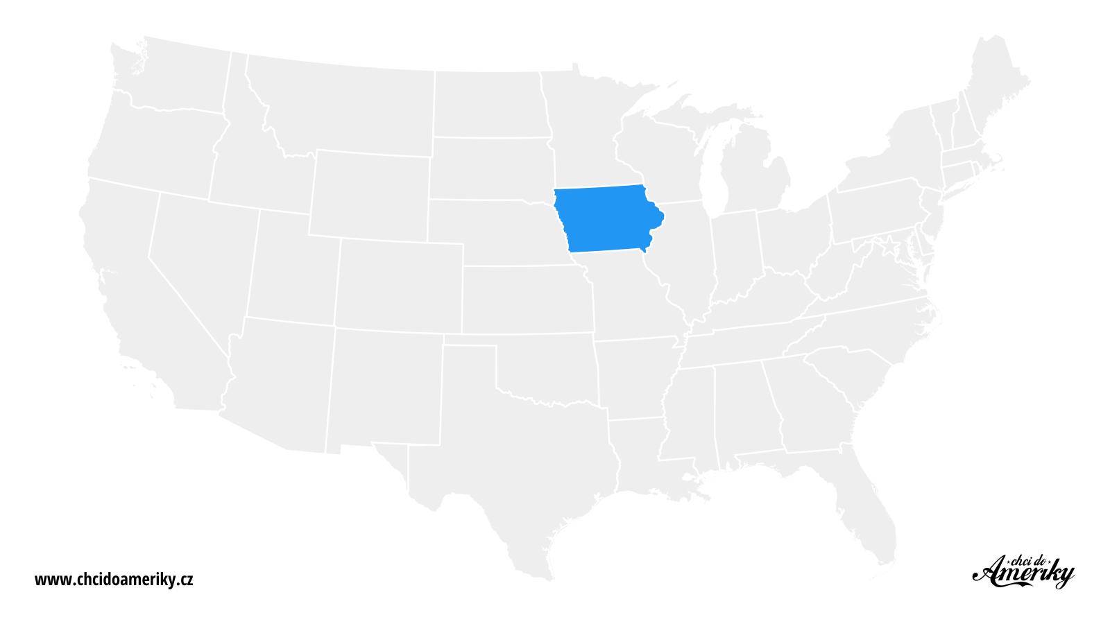 Mapa Iowy / Kde je Iowa?