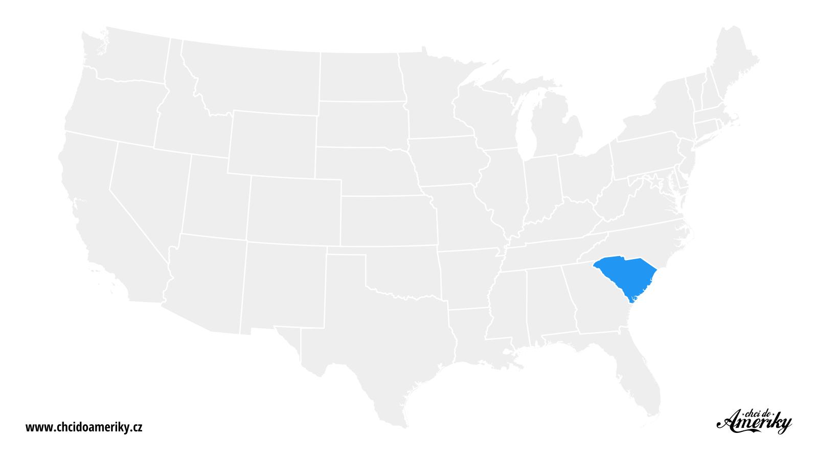 Mapa Jižní Karolíny / Kde je Jižní Karolína?