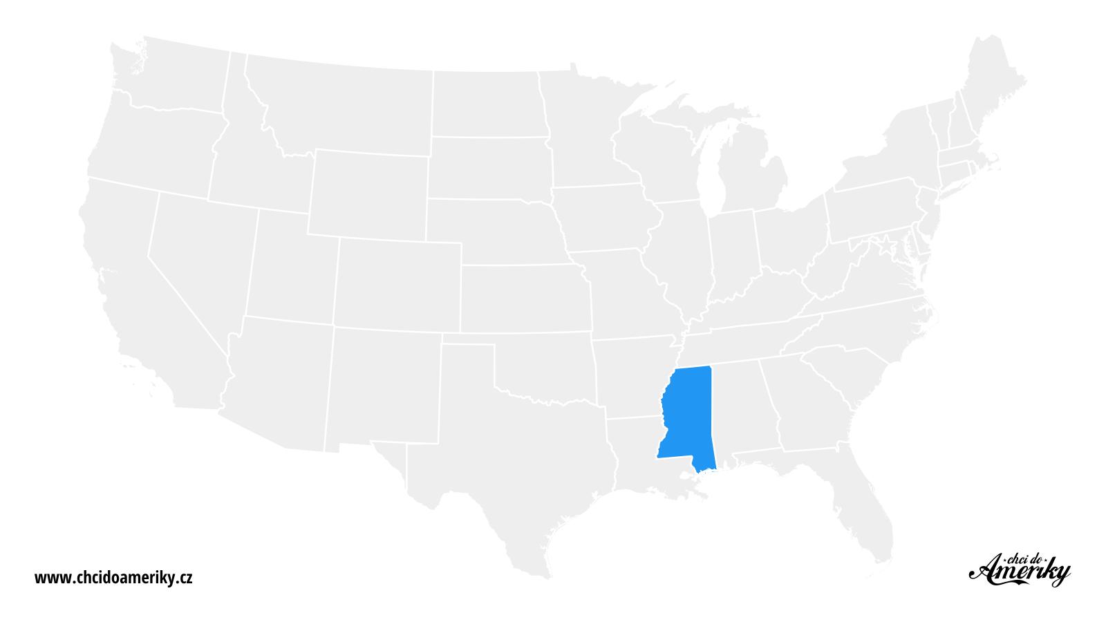 Mapa Mississippi / Kde je Mississippi?