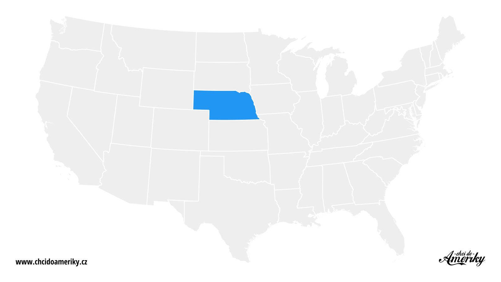 Mapa Nebrasky / Kde je Nebraska?