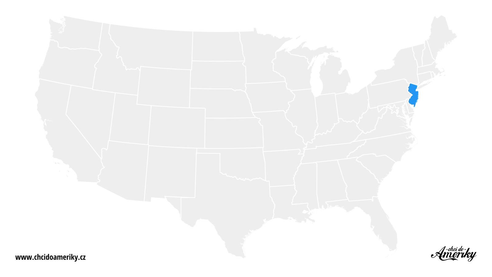 Mapa New Jersey / Kde je New Jersey?