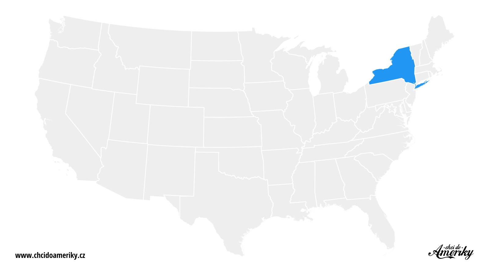 Mapa New Yorku / Kde je New York?