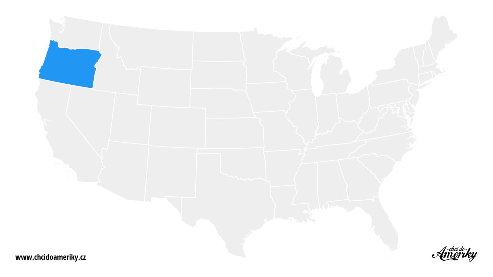 Mapa Oregonu / Kde je Oregon?
