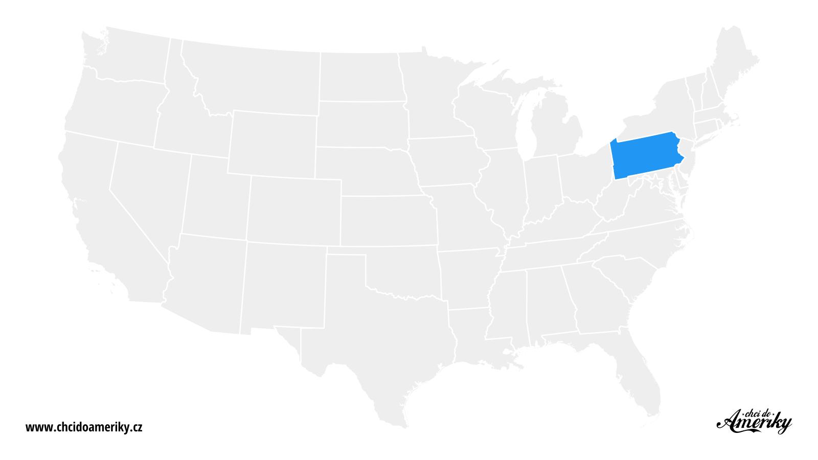 Mapa Pensylvánie / Kde je Pensylvánie?