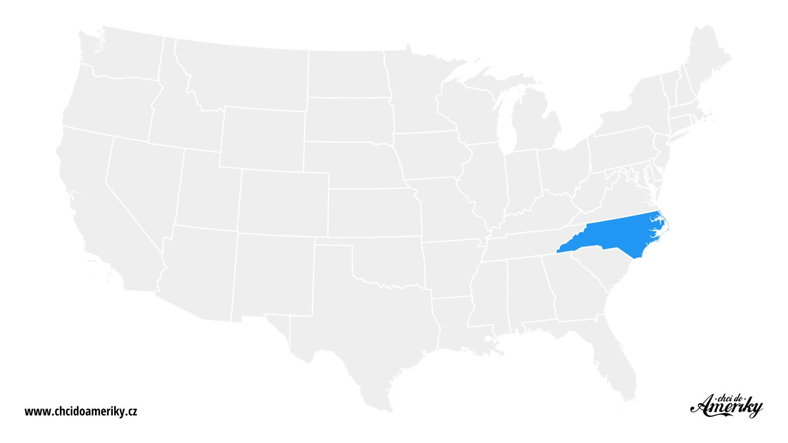 Mapa Severní Karolíny / Kde je Severní Karolína?