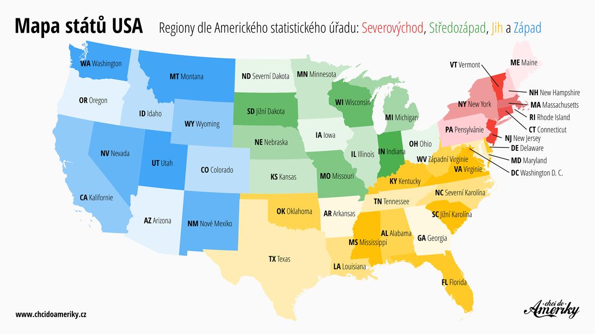 Mapa států USA | © Petr Novák