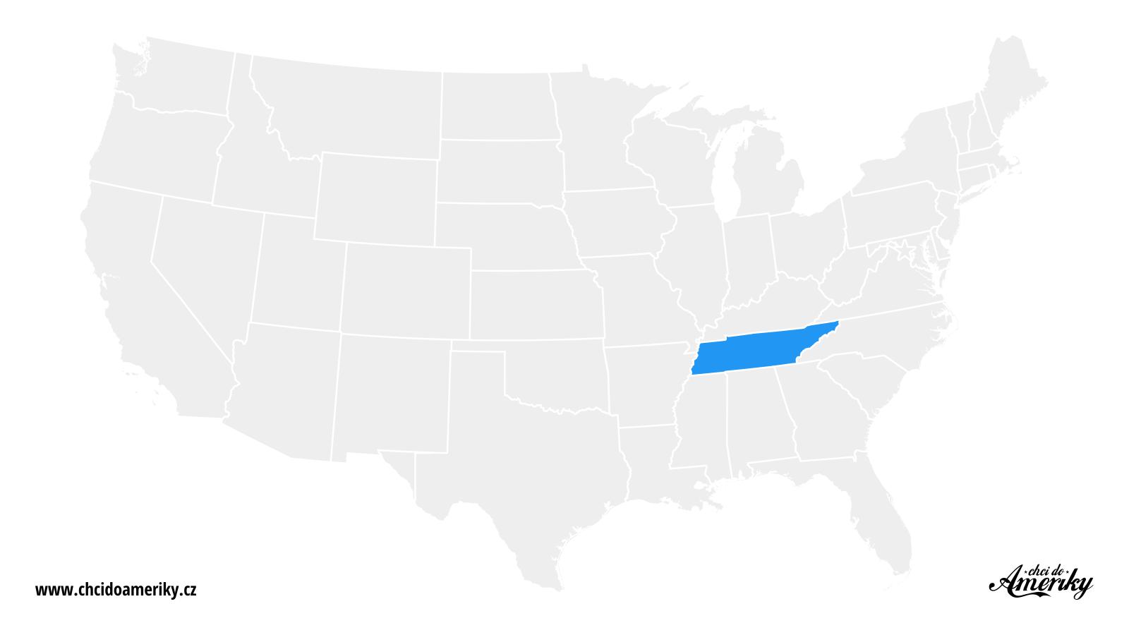 Mapa Tennessee / Kde je Tennessee?