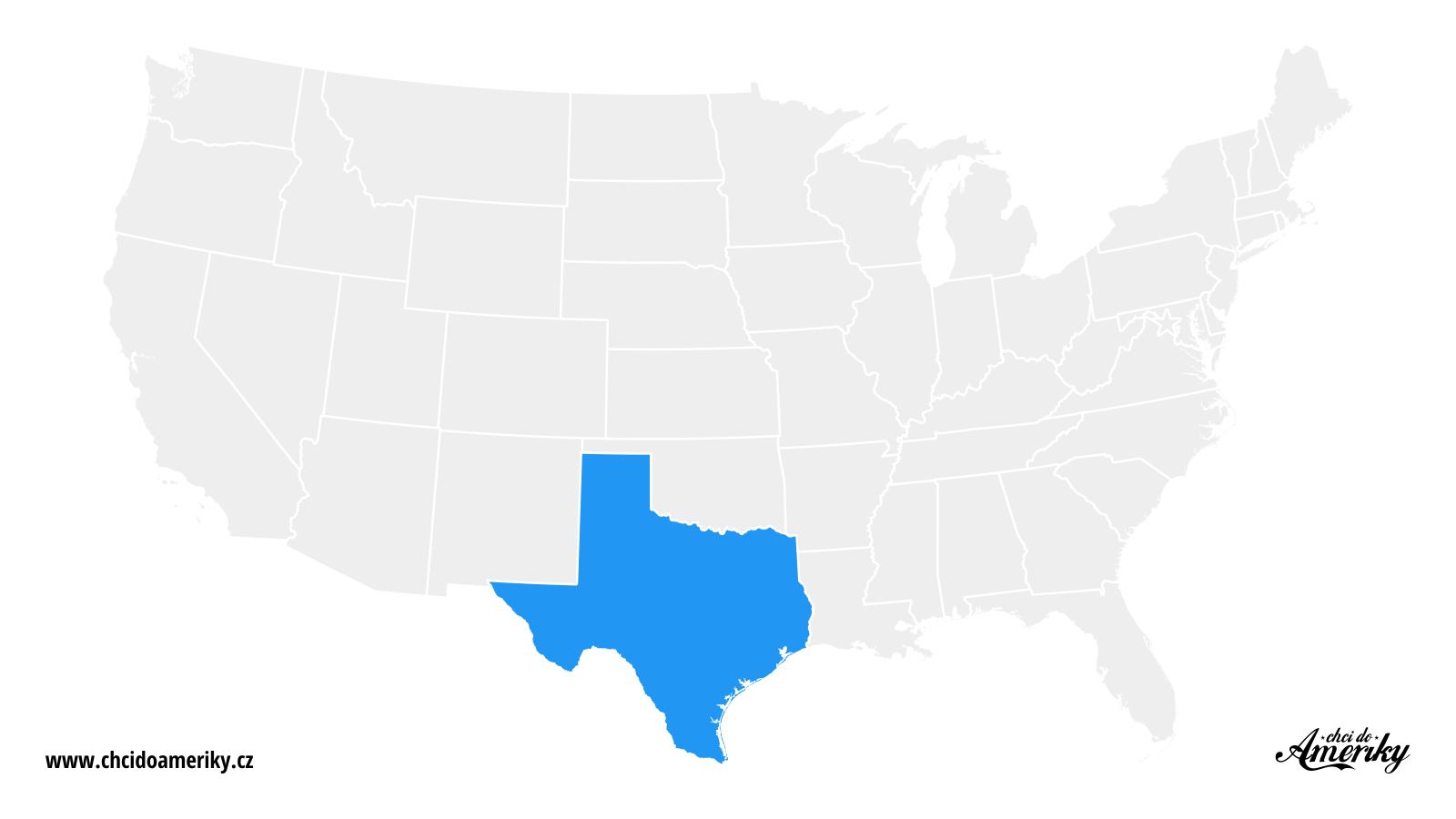 Mapa Texasu / Kde je Texas?