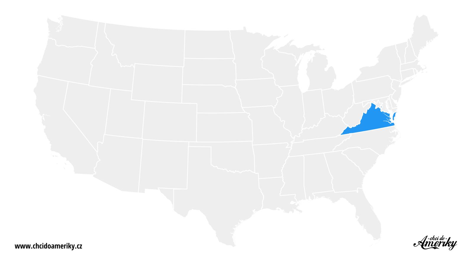 Mapa Virginie / Kde je Virginie?