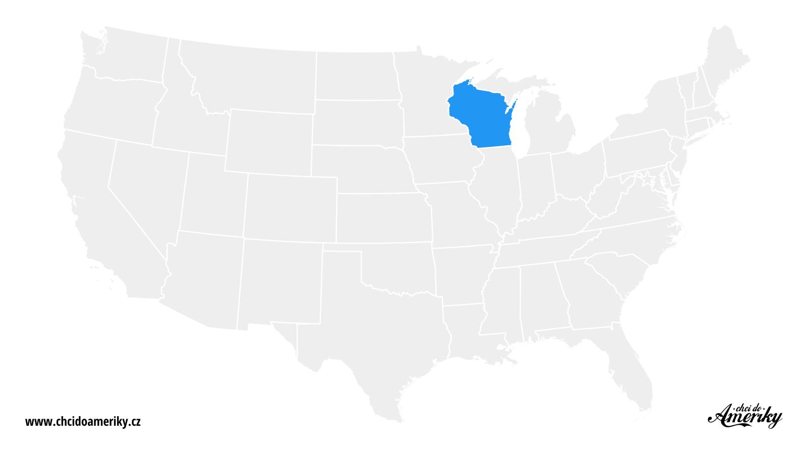 Mapa Wisconsinu / Kde je Wisconsin?
