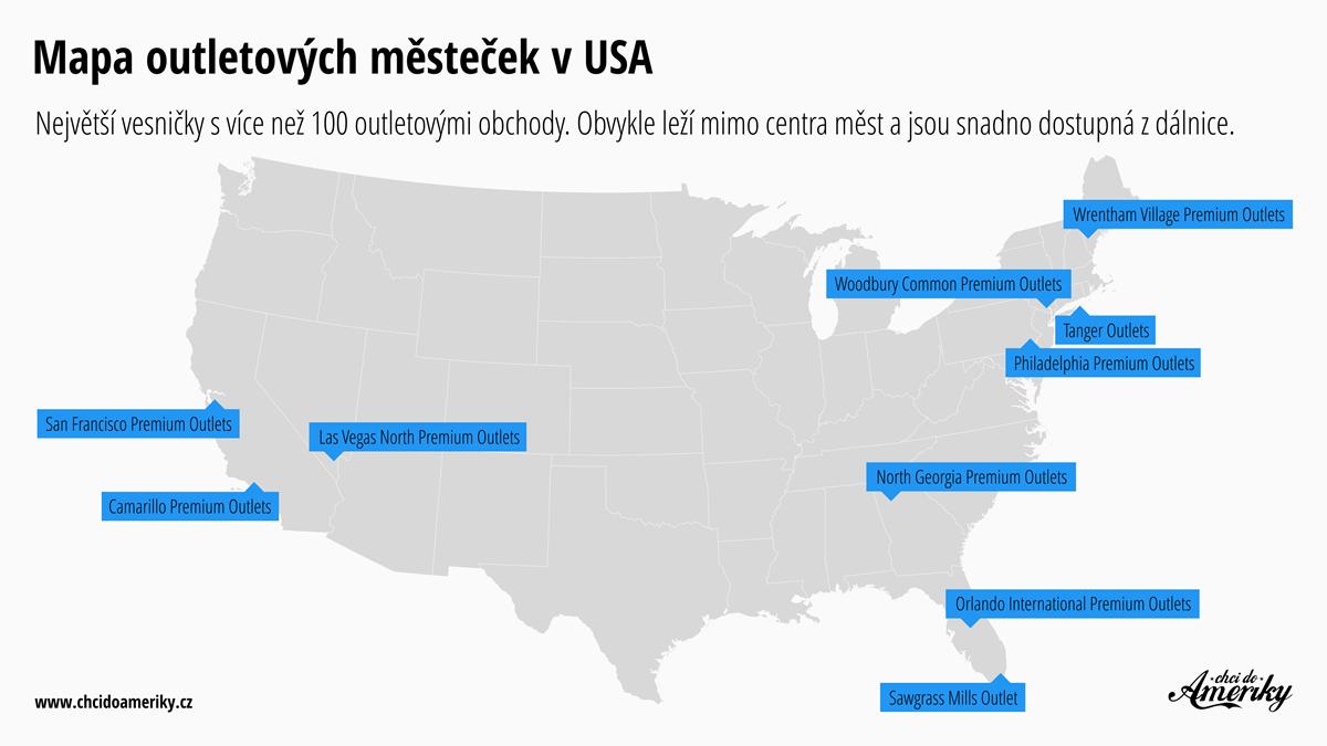 Mapa outletových městeček v USA   © Petr Novák