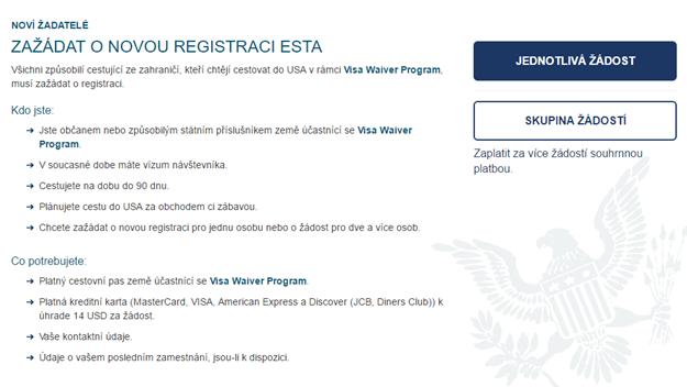 Vzor formuláře ESTA česky