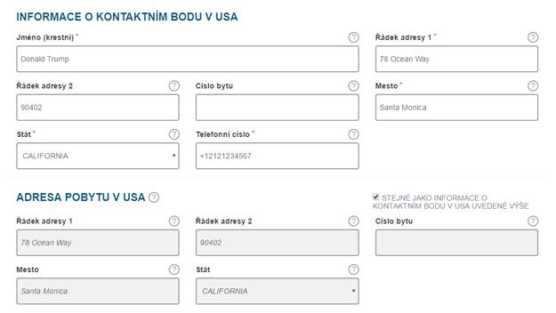 Cestovní registrace ESTA do USA