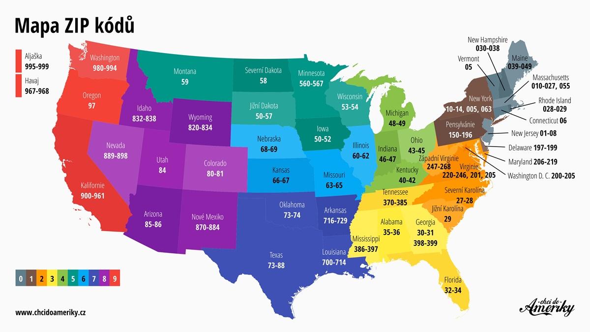 Poštovní směrovací čísla v USA | mapa ZIP kódů | © Petr Novák