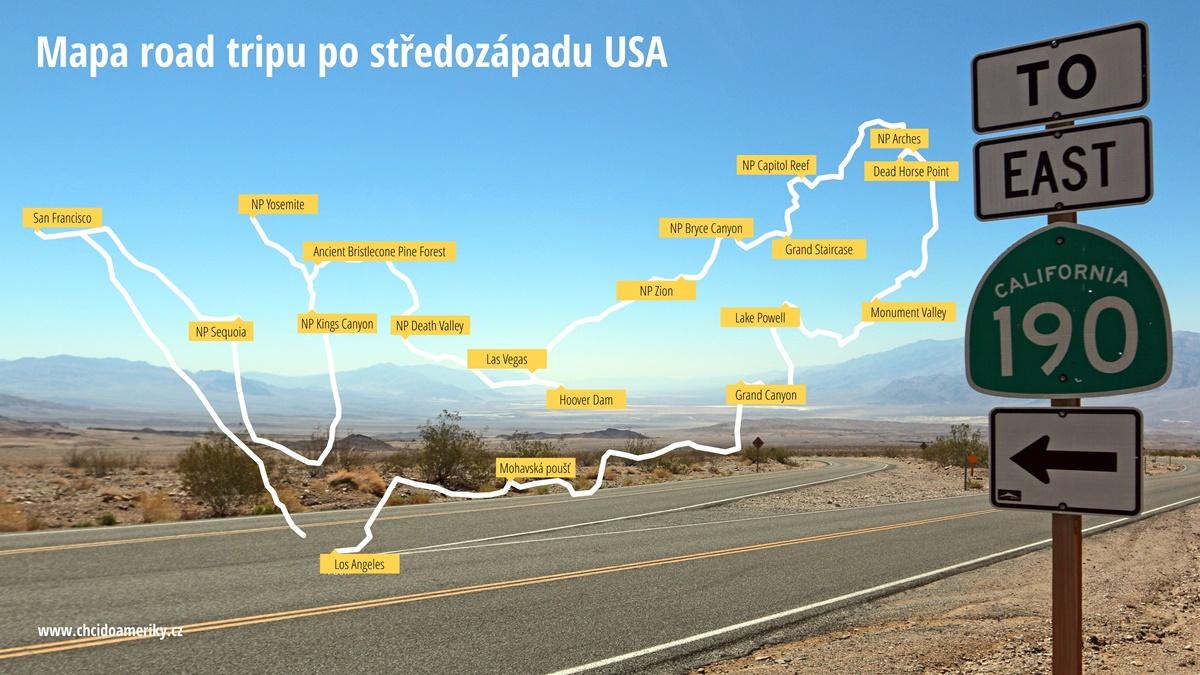 Mapa road tripu po středozápadu USA