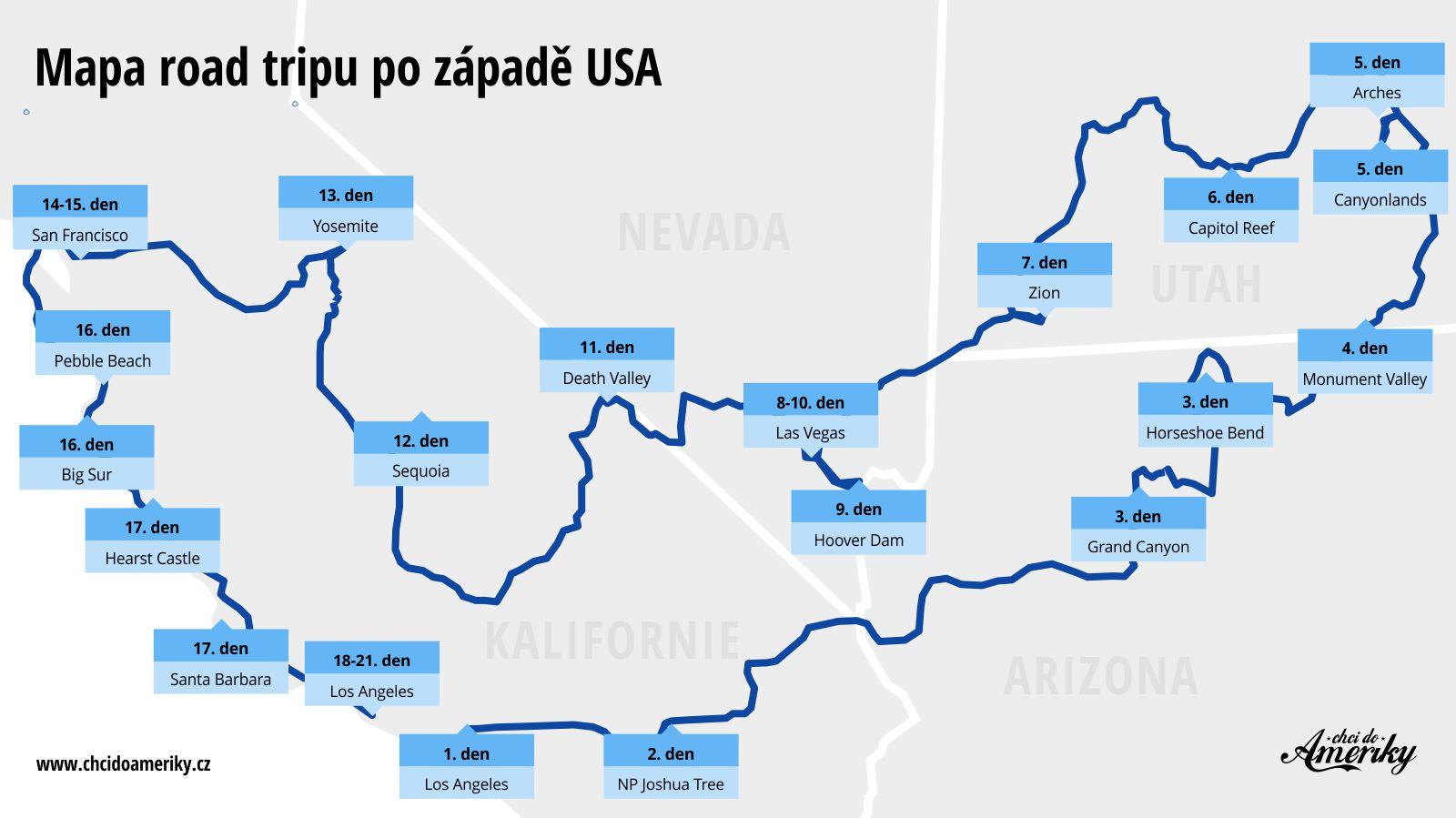 Mapa road tripu po USA